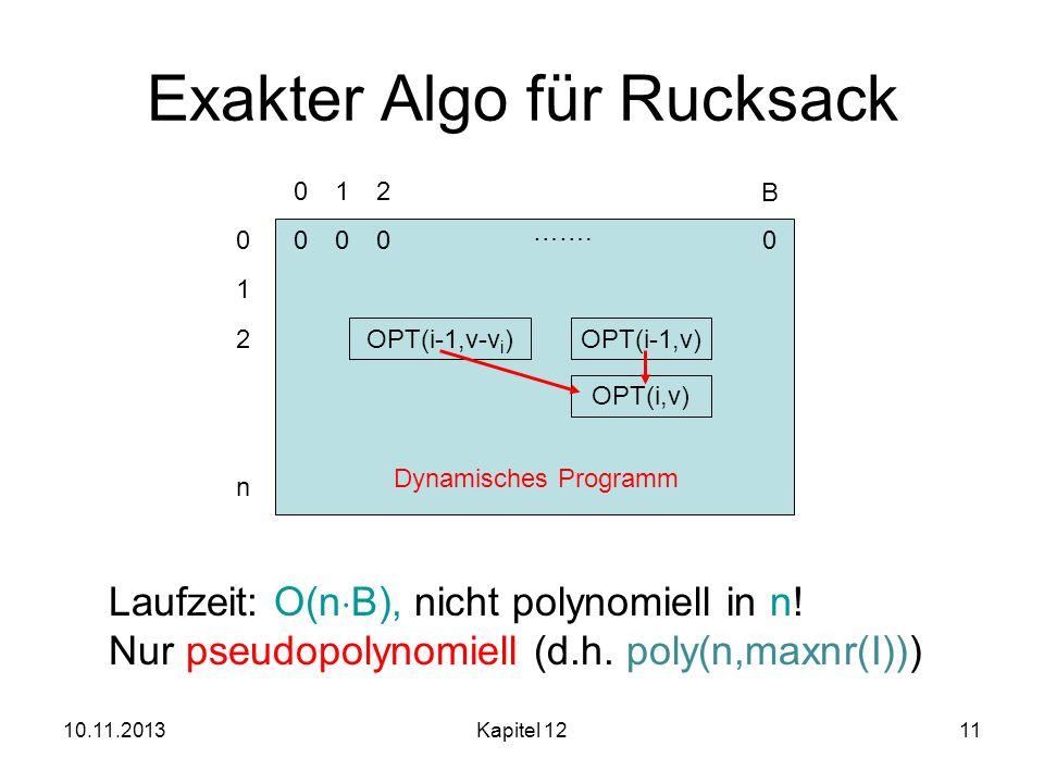 Exakter Algo für Rucksack