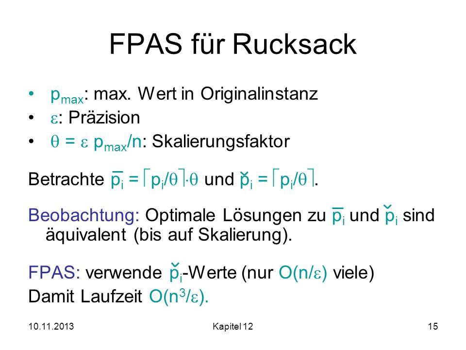 FPAS für Rucksack pmax: max. Wert in Originalinstanz : Präzision