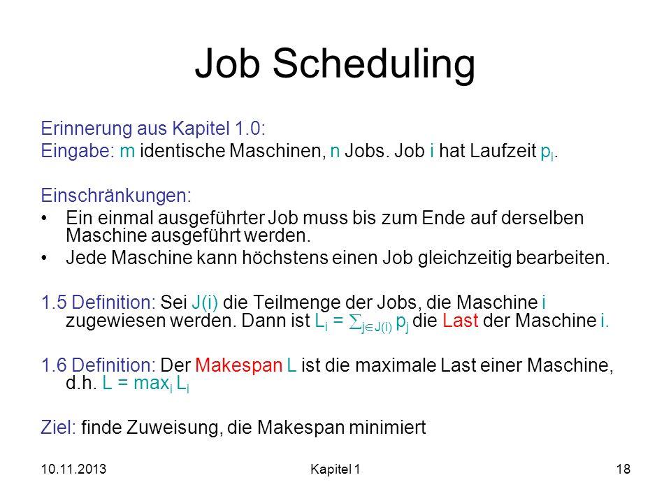 Job Scheduling Erinnerung aus Kapitel 1.0: