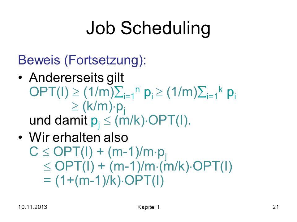 Job Scheduling Beweis (Fortsetzung):