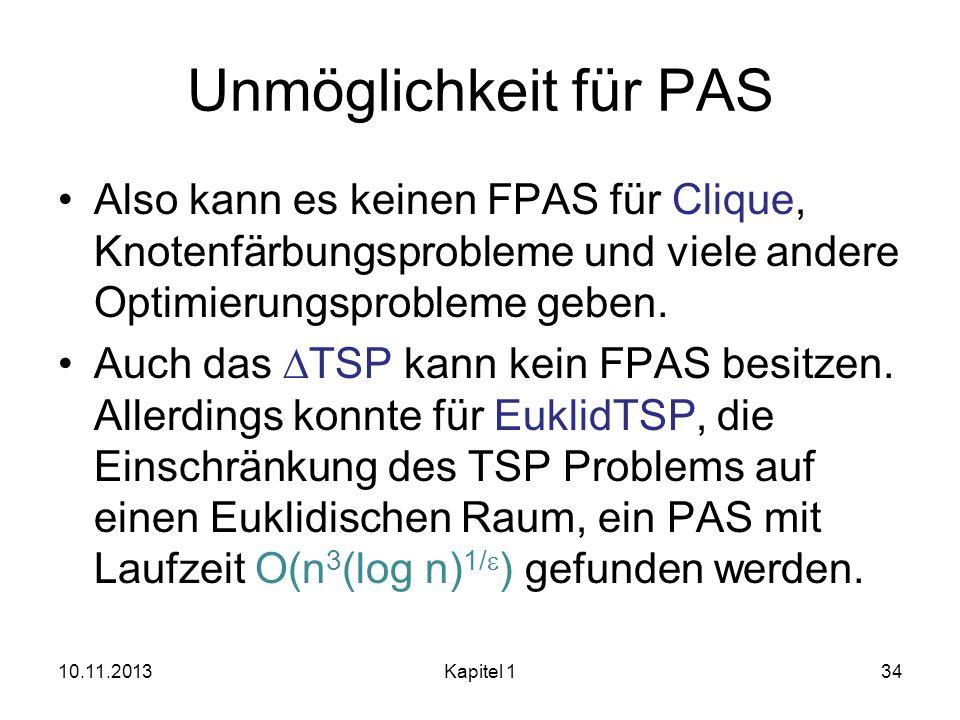 Unmöglichkeit für PASAlso kann es keinen FPAS für Clique, Knotenfärbungsprobleme und viele andere Optimierungsprobleme geben.