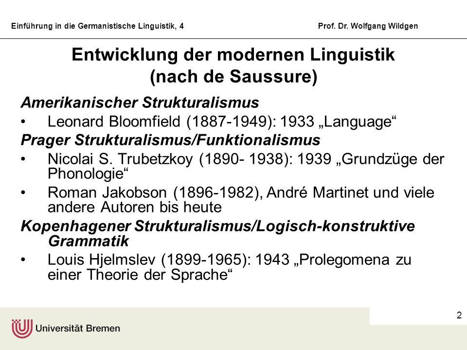 Entwicklung der modernen Linguistik (nach de Saussure)