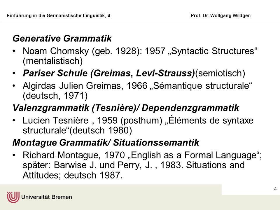 """Generative Grammatik Noam Chomsky (geb. 1928): 1957 """"Syntactic Structures (mentalistisch) Pariser Schule (Greimas, Levi-Strauss)(semiotisch)"""