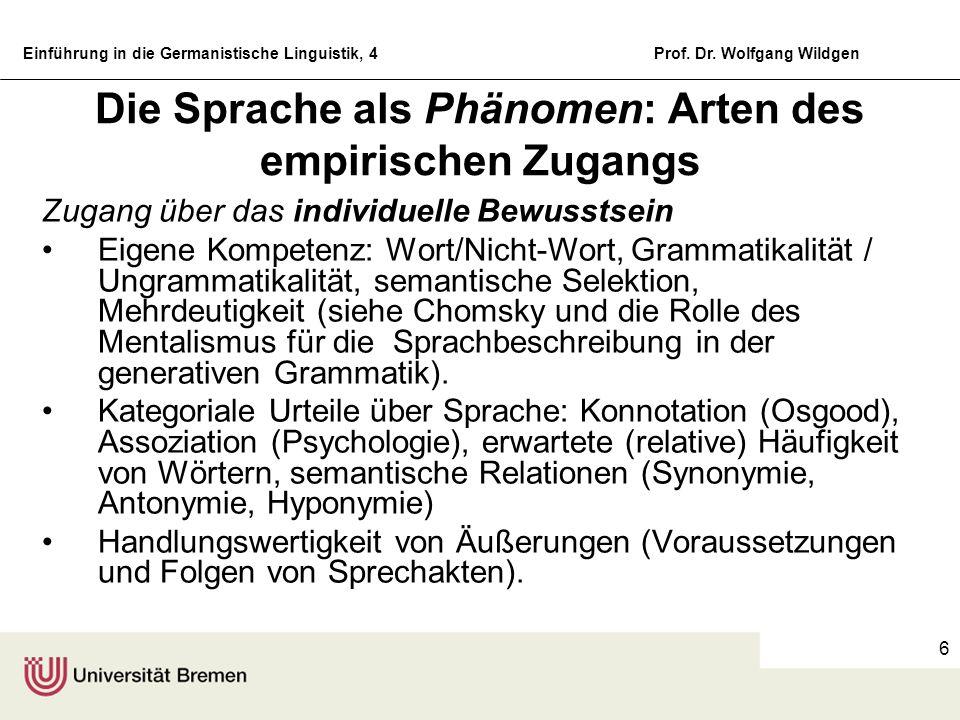 Die Sprache als Phänomen: Arten des empirischen Zugangs