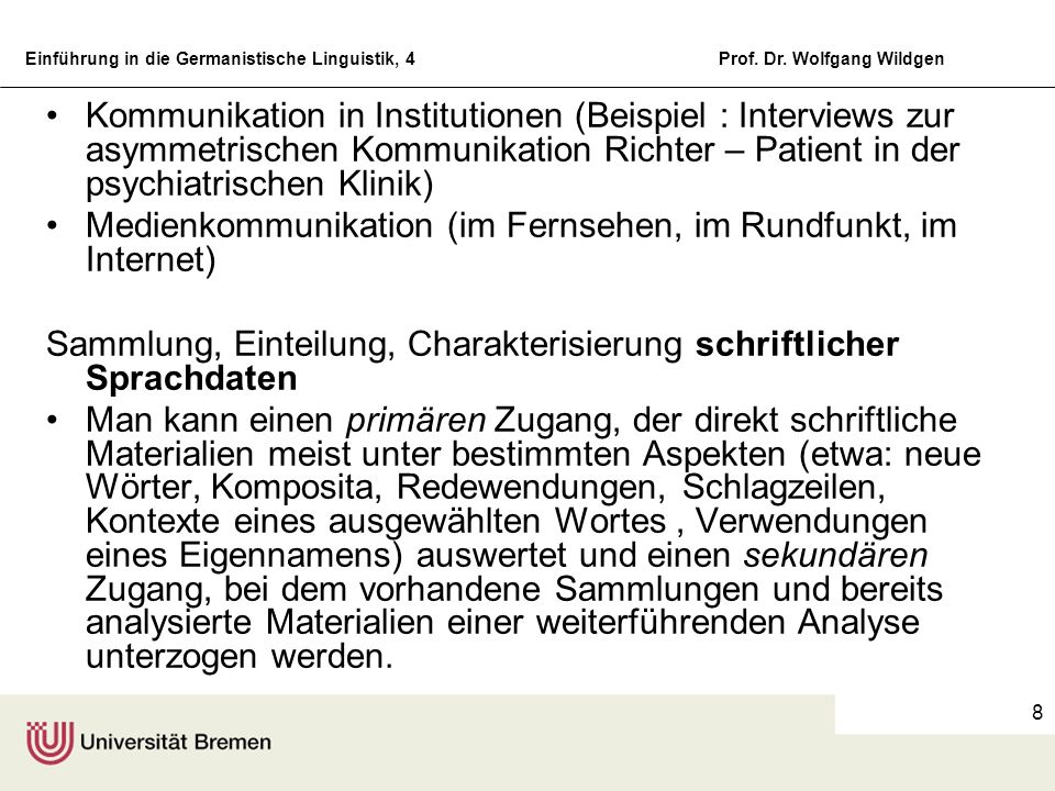 Kommunikation in Institutionen (Beispiel : Interviews zur asymmetrischen Kommunikation Richter – Patient in der psychiatrischen Klinik)