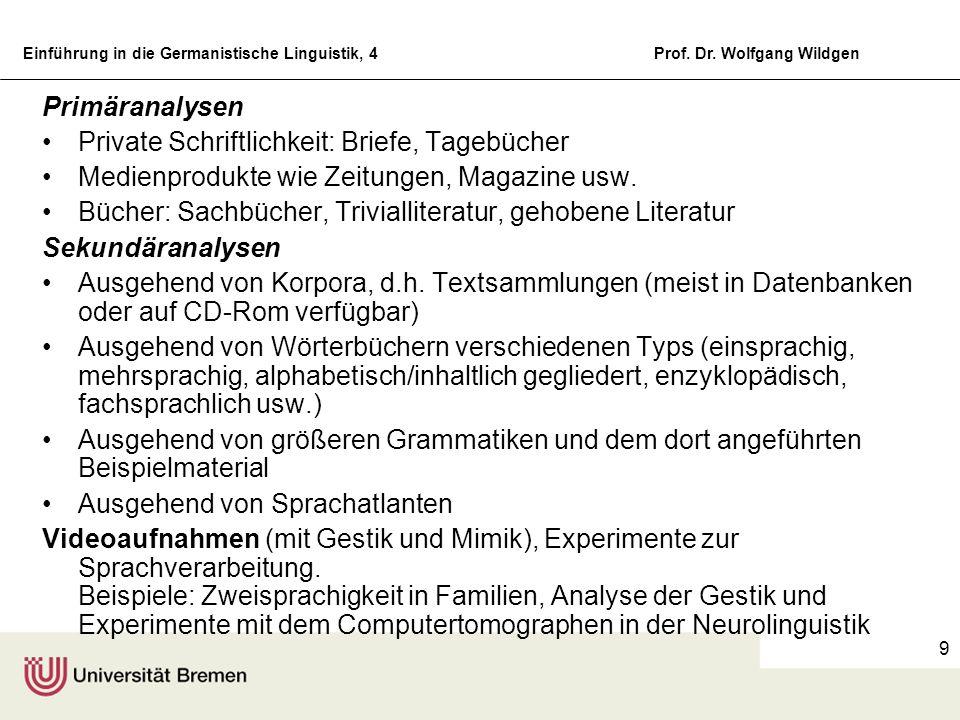 Primäranalysen Private Schriftlichkeit: Briefe, Tagebücher. Medienprodukte wie Zeitungen, Magazine usw.