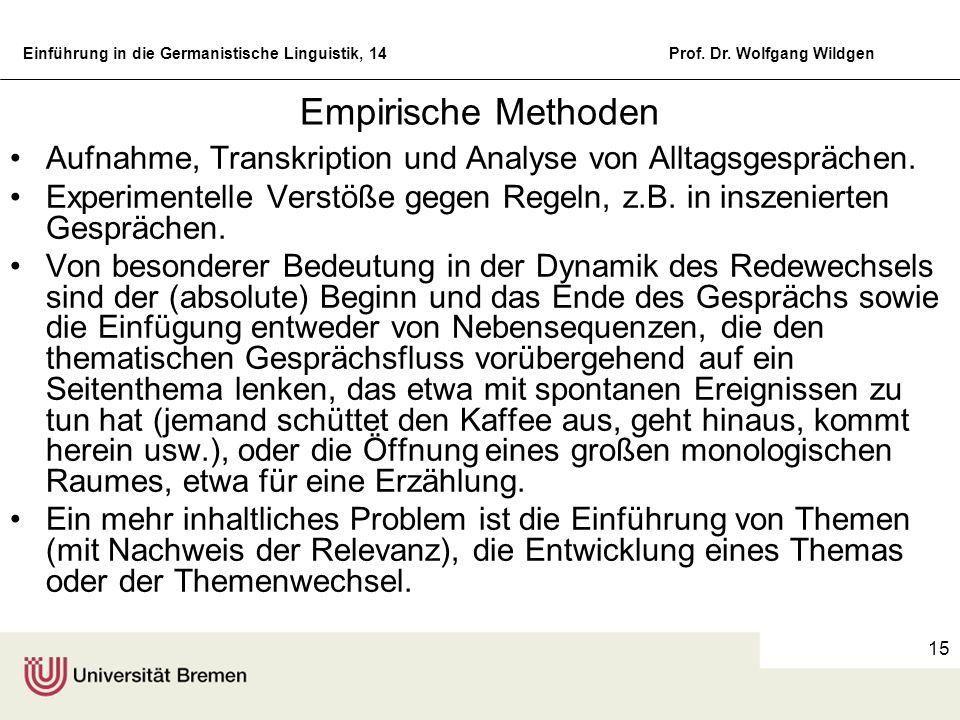 Empirische Methoden Aufnahme, Transkription und Analyse von Alltagsgesprächen.
