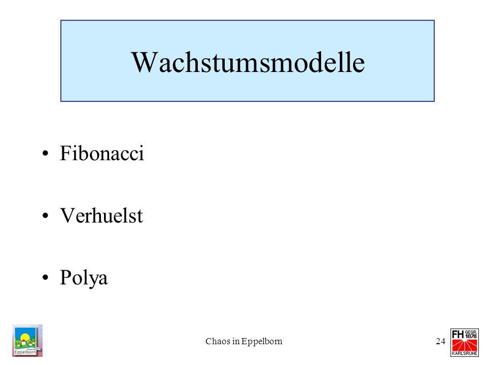 Wachstumsmodelle Fibonacci Verhuelst Polya Chaos in Eppelborn