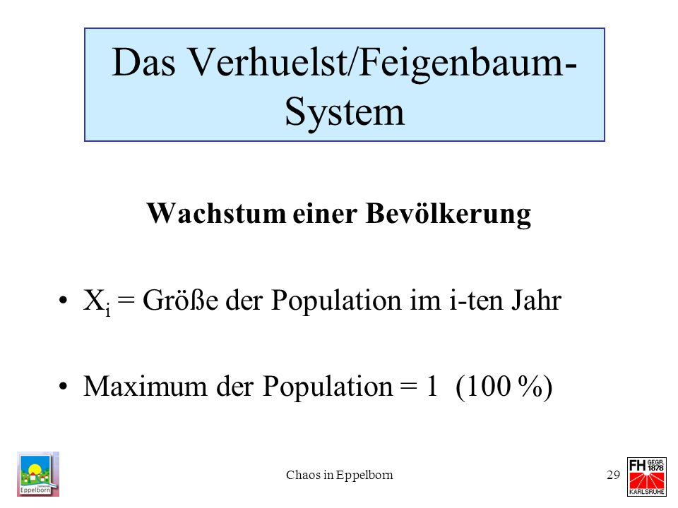 Das Verhuelst/Feigenbaum-System