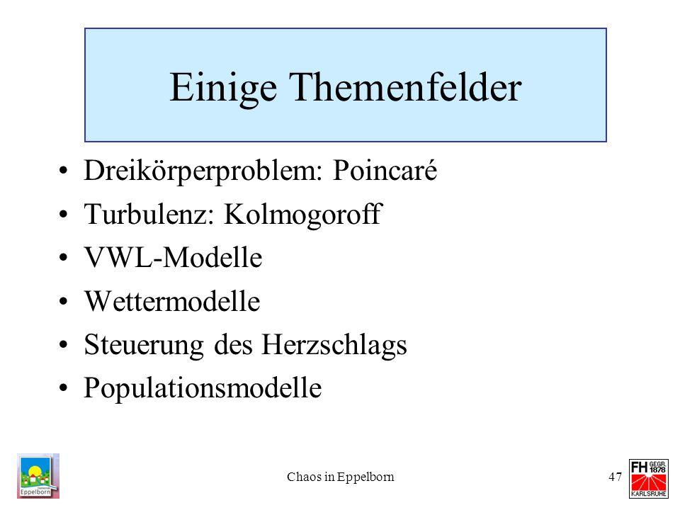 Einige Themenfelder Dreikörperproblem: Poincaré Turbulenz: Kolmogoroff