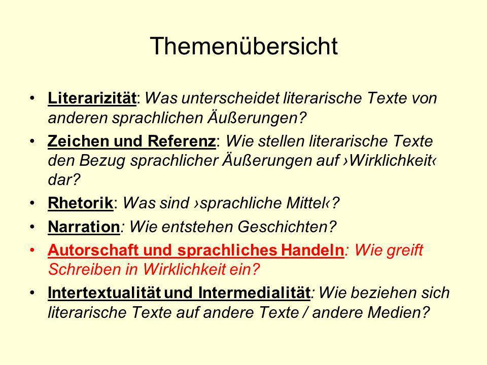 Themenübersicht Literarizität: Was unterscheidet literarische Texte von anderen sprachlichen Äußerungen