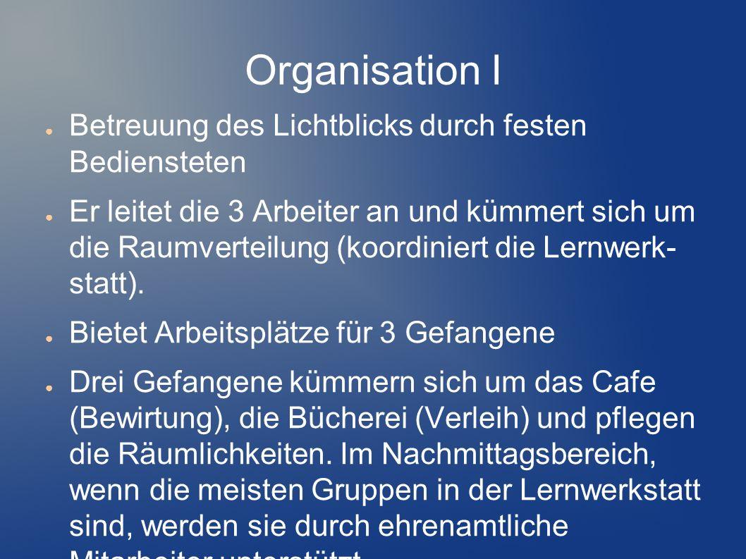 Organisation I Betreuung des Lichtblicks durch festen Bediensteten