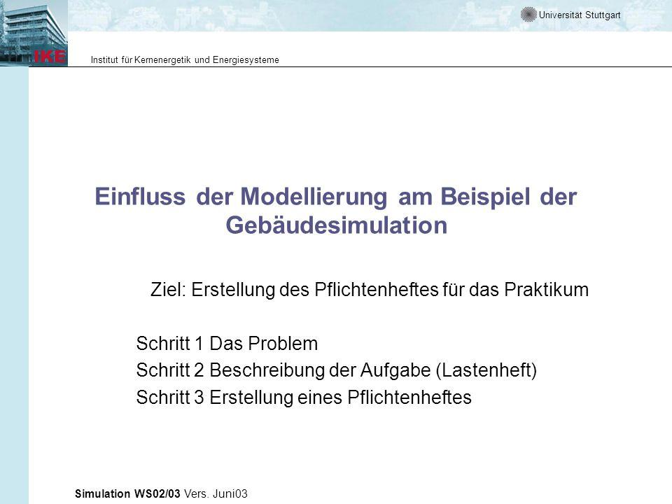 Einfluss der Modellierung am Beispiel der Gebäudesimulation