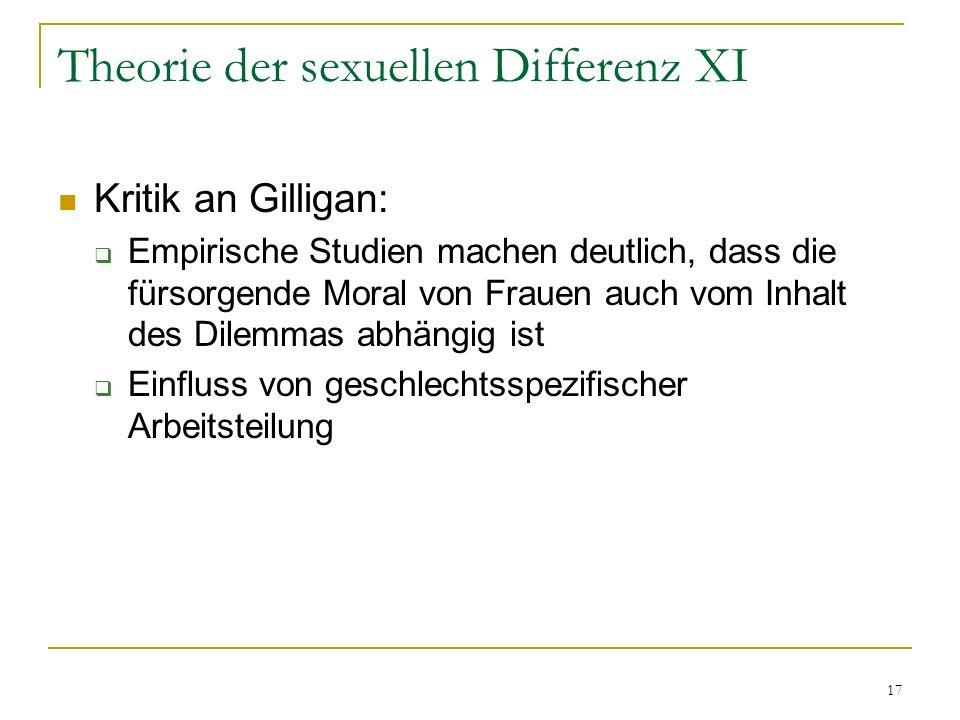 Theorie der sexuellen Differenz XI