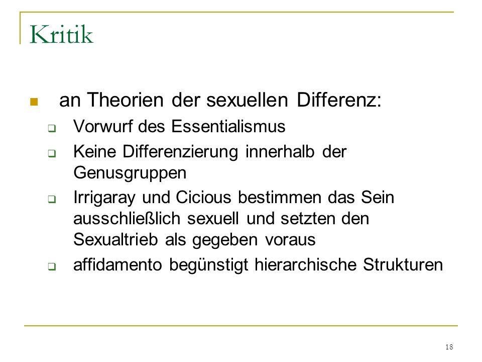 Kritik an Theorien der sexuellen Differenz: Vorwurf des Essentialismus