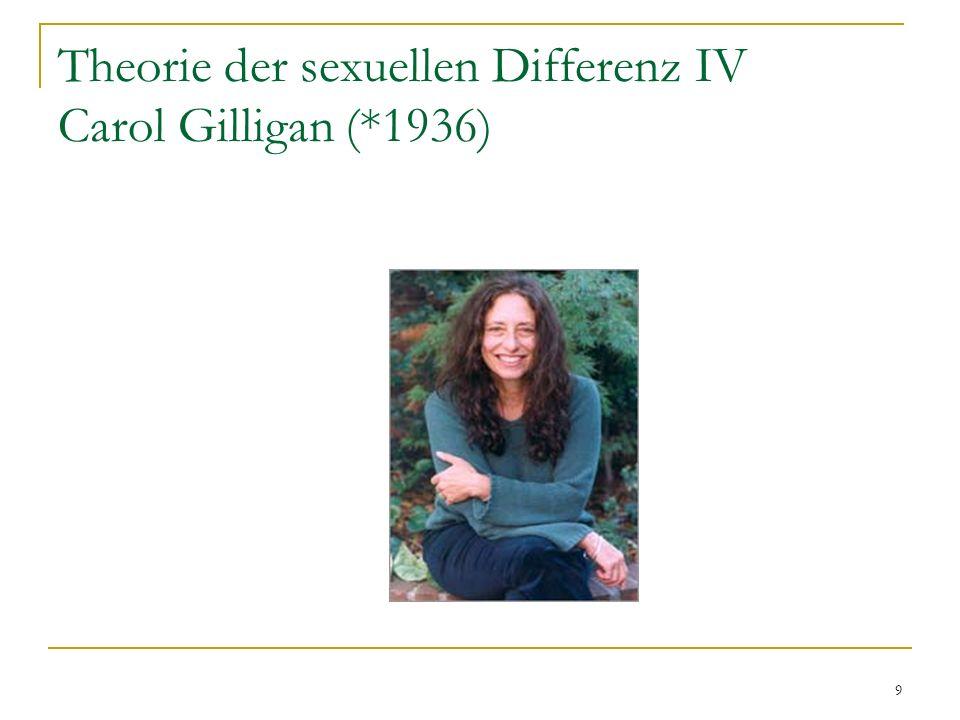 Theorie der sexuellen Differenz IV Carol Gilligan (*1936)