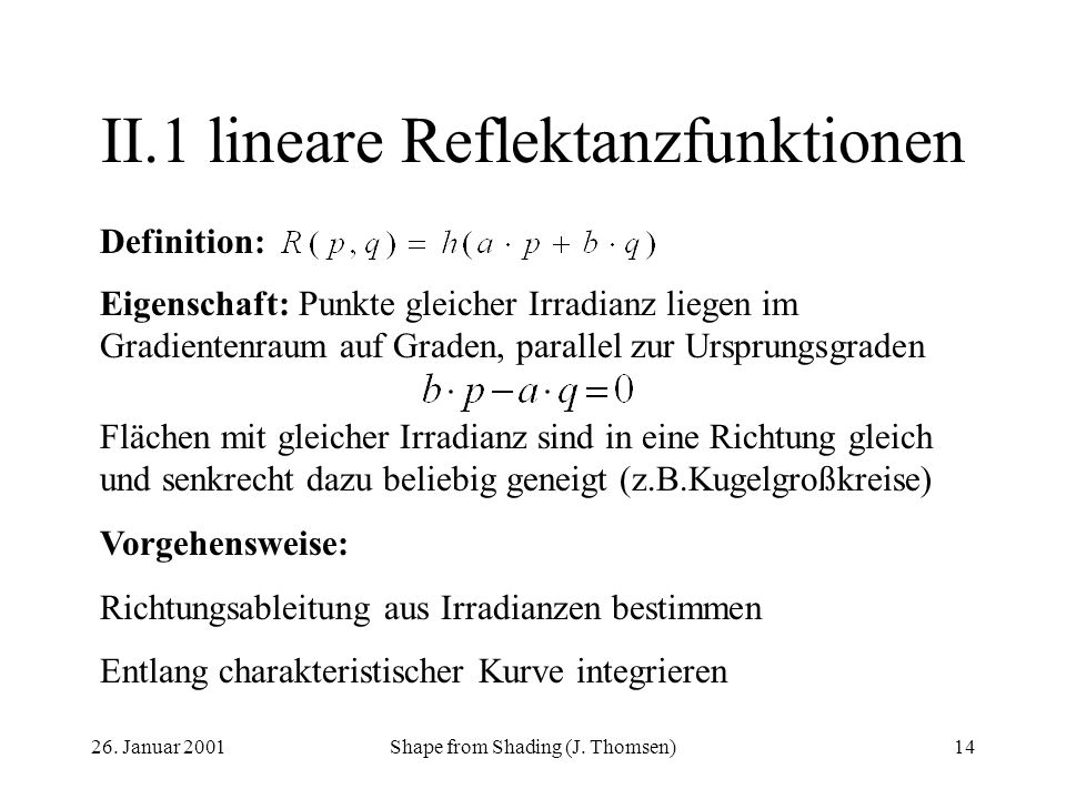 II.1 lineare Reflektanzfunktionen