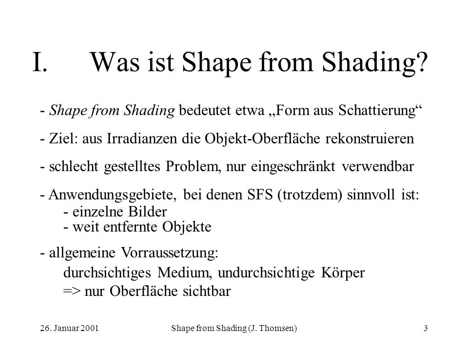 I. Was ist Shape from Shading