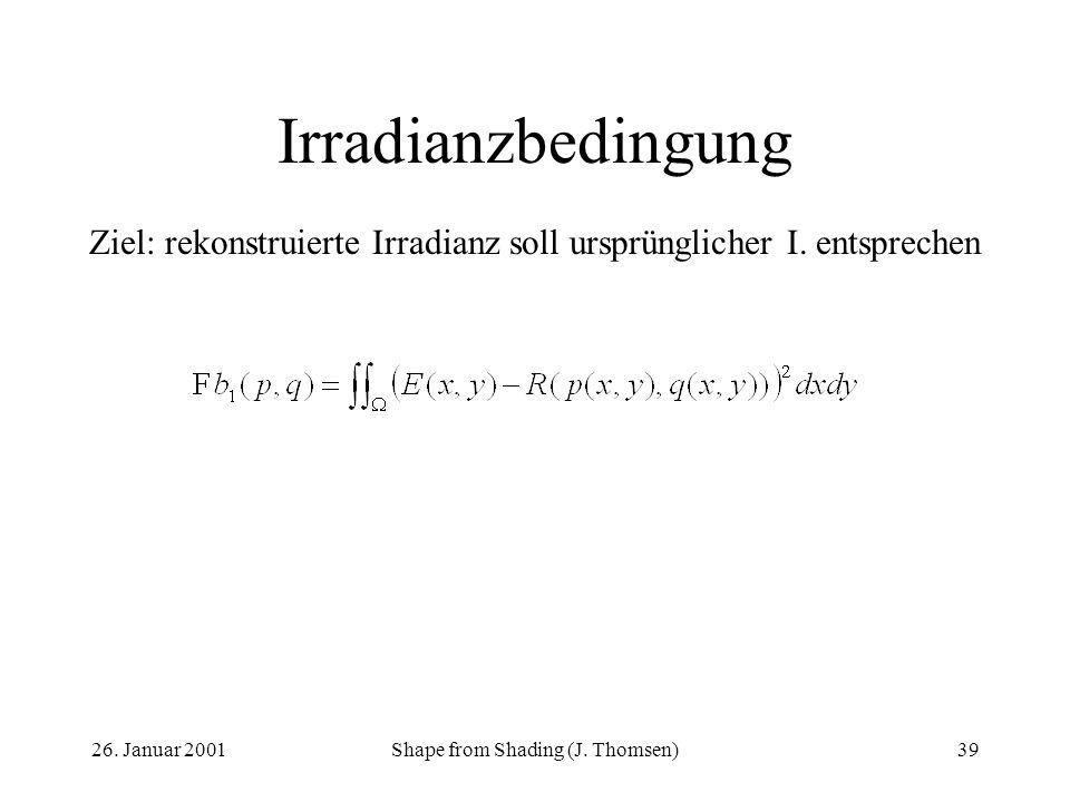 Irradianzbedingung Ziel: rekonstruierte Irradianz soll ursprünglicher I. entsprechen. 26. Januar 2001.