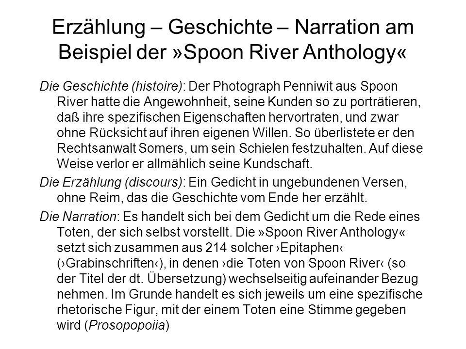 Erzählung – Geschichte – Narration am Beispiel der »Spoon River Anthology«