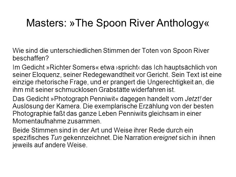 Masters: »The Spoon River Anthology«