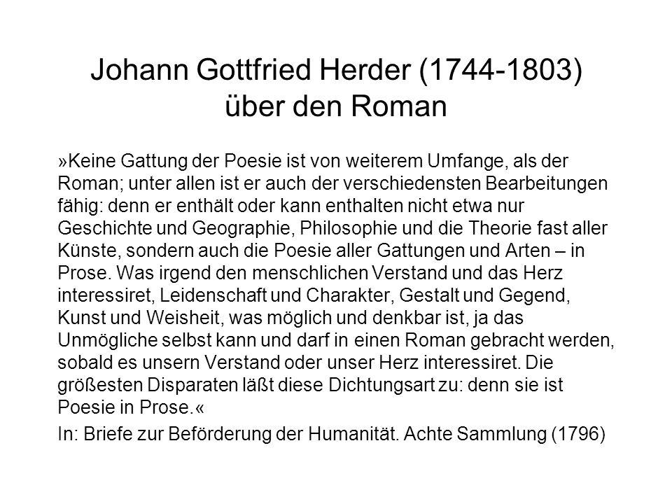 Johann Gottfried Herder (1744-1803) über den Roman