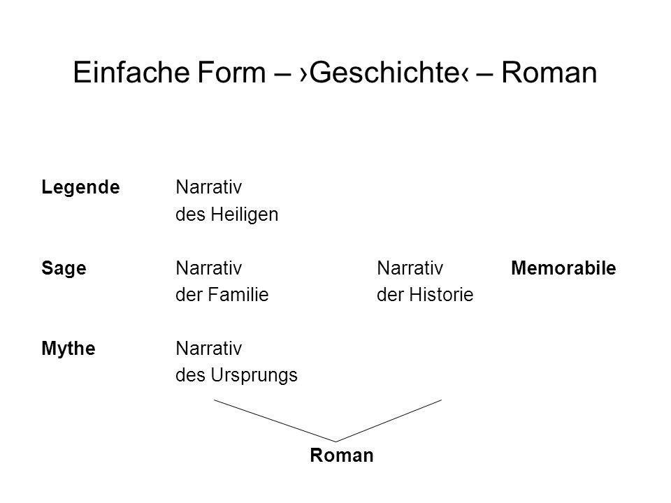 Einfache Form – ›Geschichte‹ – Roman