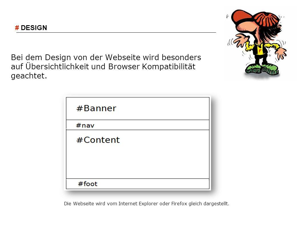 Bei dem Design von der Webseite wird besonders