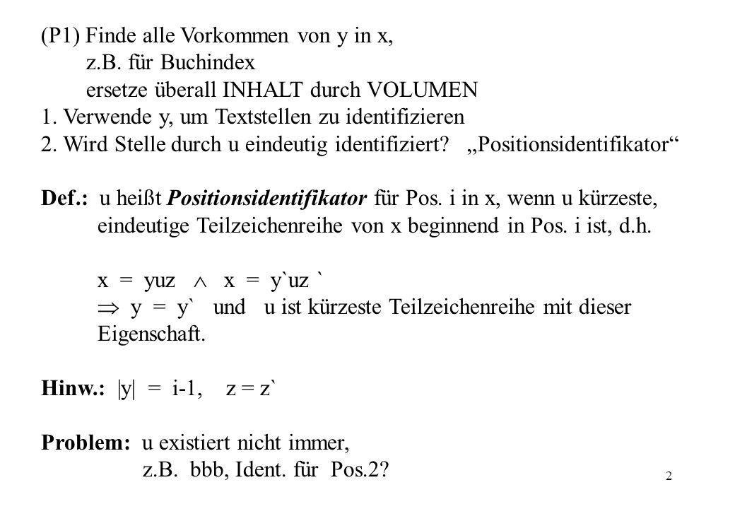 (P1) Finde alle Vorkommen von y in x,