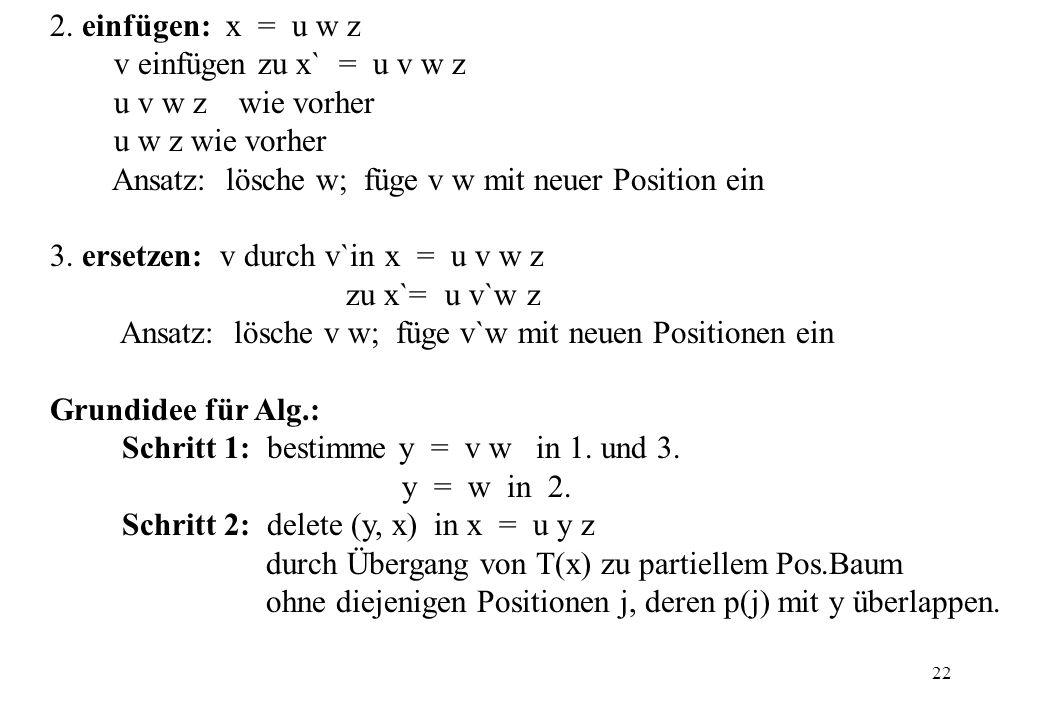 2. einfügen: x = u w z v einfügen zu x` = u v w z. u v w z wie vorher. u w z wie vorher.