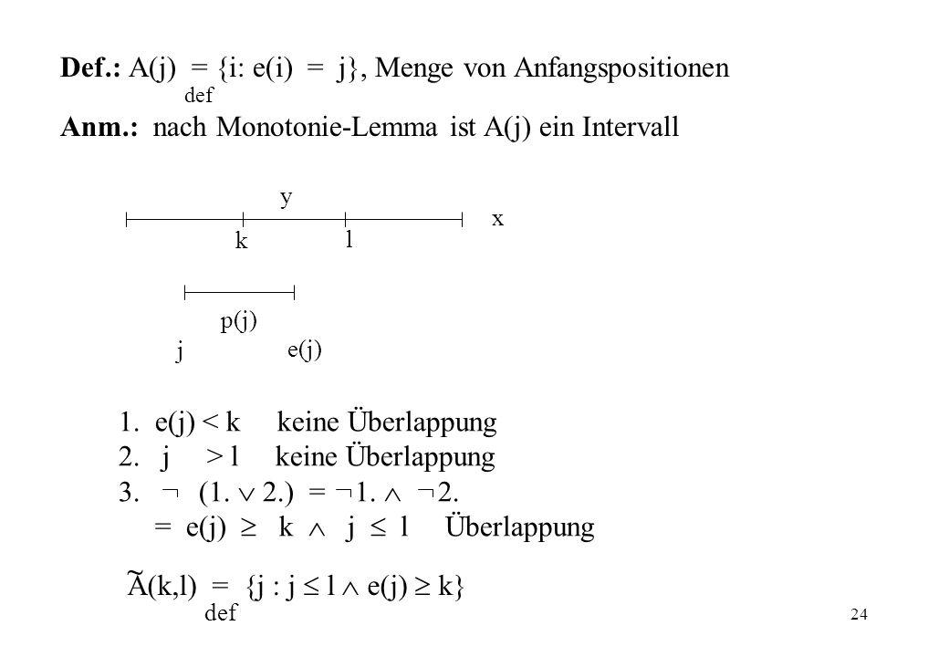 Def.: A(j) = {i: e(i) = j}, Menge von Anfangspositionen def