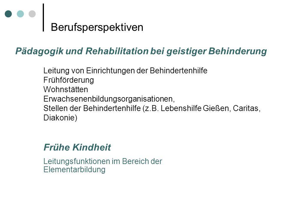 Berufsperspektiven Pädagogik und Rehabilitation bei geistiger Behinderung. Leitung von Einrichtungen der Behindertenhilfe.
