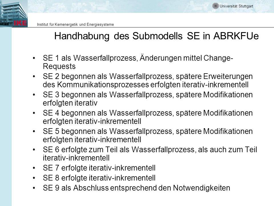 Handhabung des Submodells SE in ABRKFUe