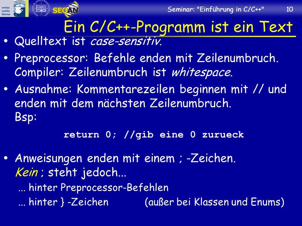 Ein C/C++-Programm ist ein Text