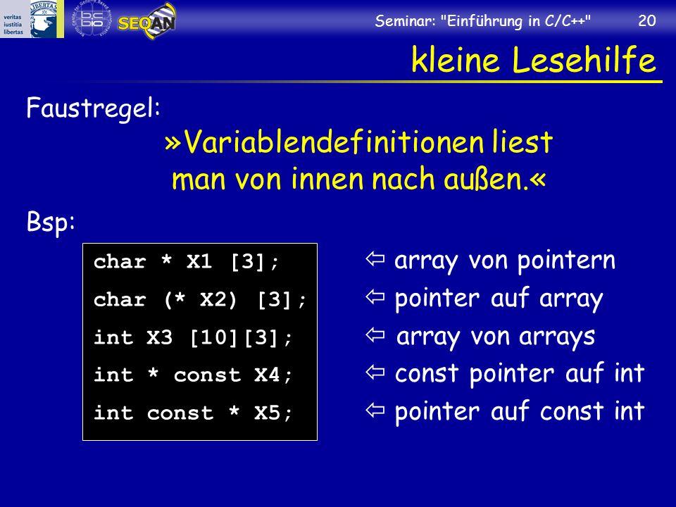 »Variablendefinitionen liest man von innen nach außen.«