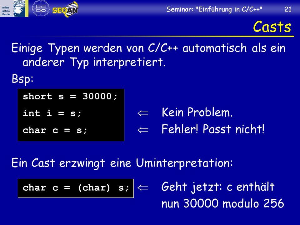 Seminar: Einführung in C/C++