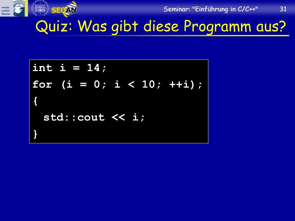 Quiz: Was gibt diese Programm aus