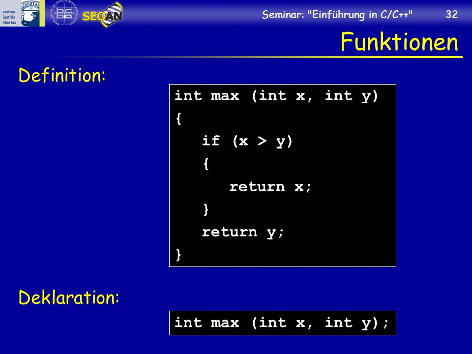 Funktionen Definition: Deklaration: int max (int x, int y) {