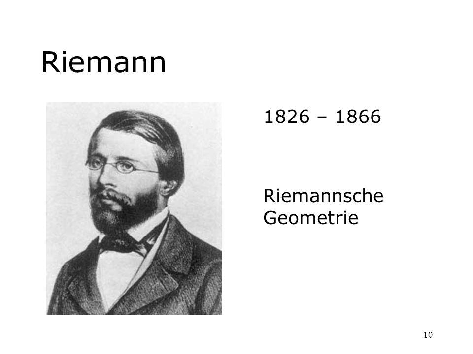 Riemann 1826 – 1866 Riemannsche Geometrie