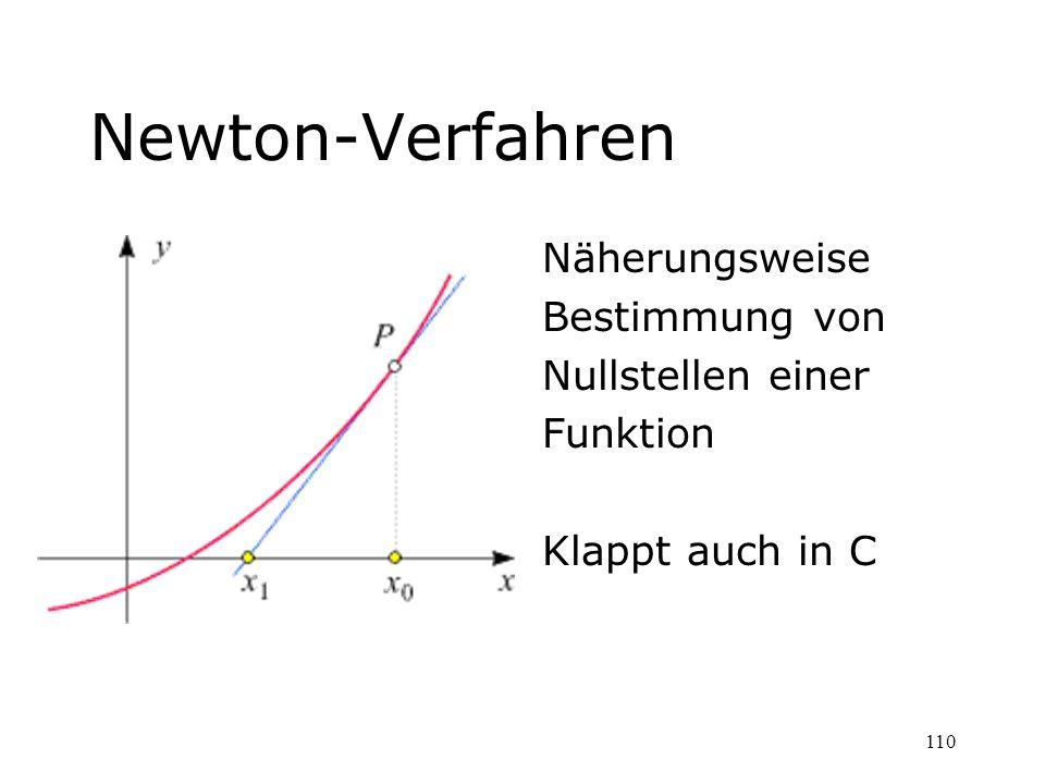 Newton-Verfahren Näherungsweise Bestimmung von Nullstellen einer