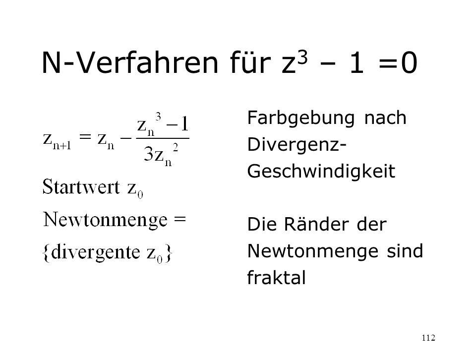 N-Verfahren für z3 – 1 =0 Farbgebung nach Divergenz- Geschwindigkeit