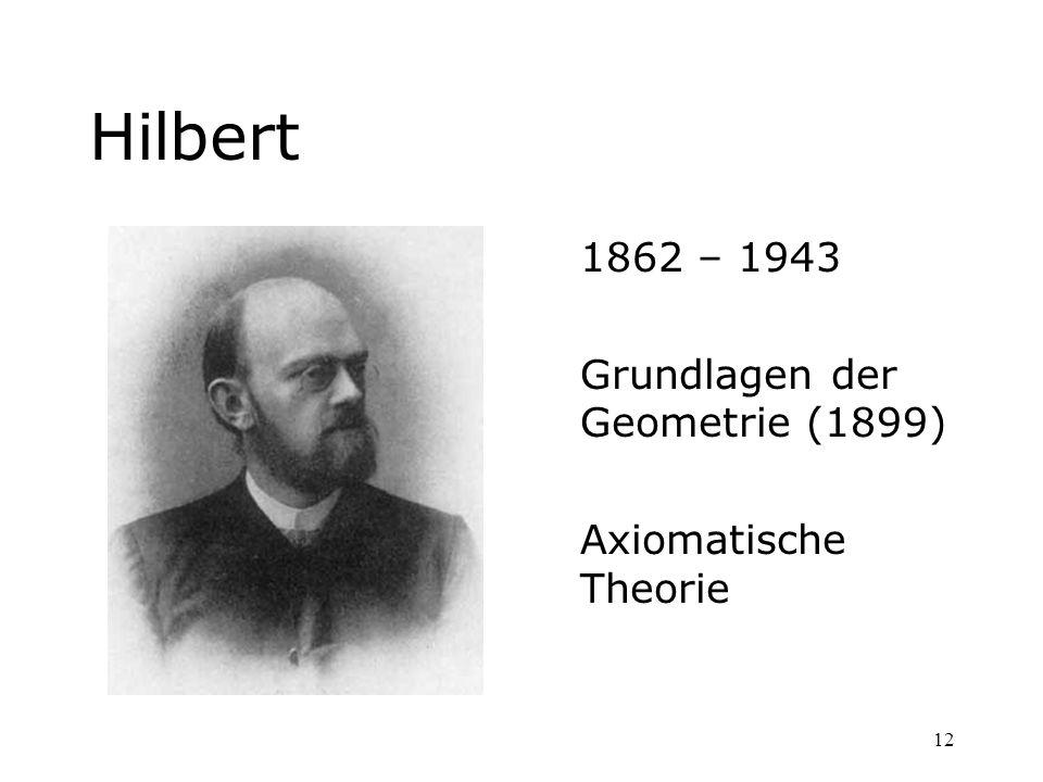 Hilbert 1862 – 1943 Grundlagen der Geometrie (1899)