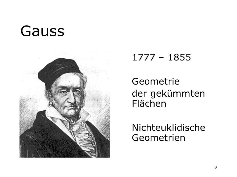 Gauss 1777 – 1855 Geometrie der gekümmten Flächen
