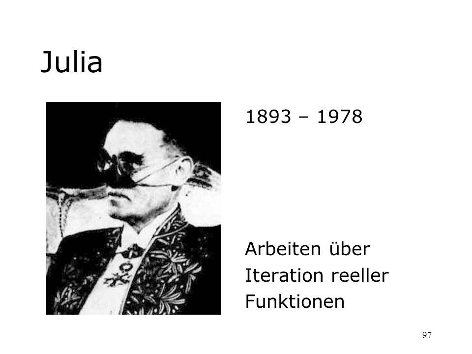 Julia 1893 – 1978 Arbeiten über Iteration reeller Funktionen