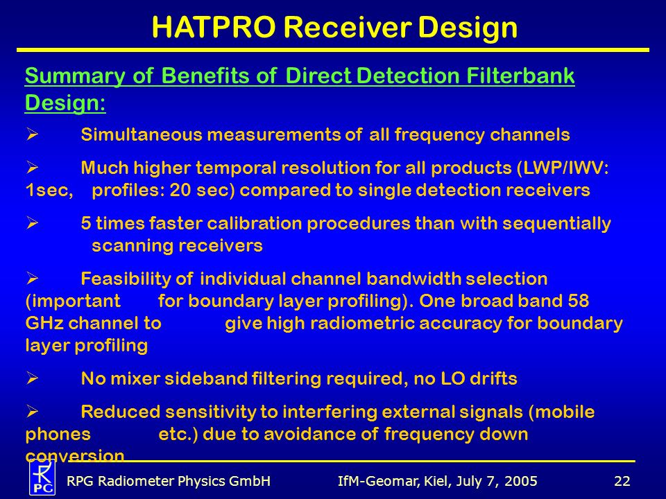 HATPRO Receiver Design