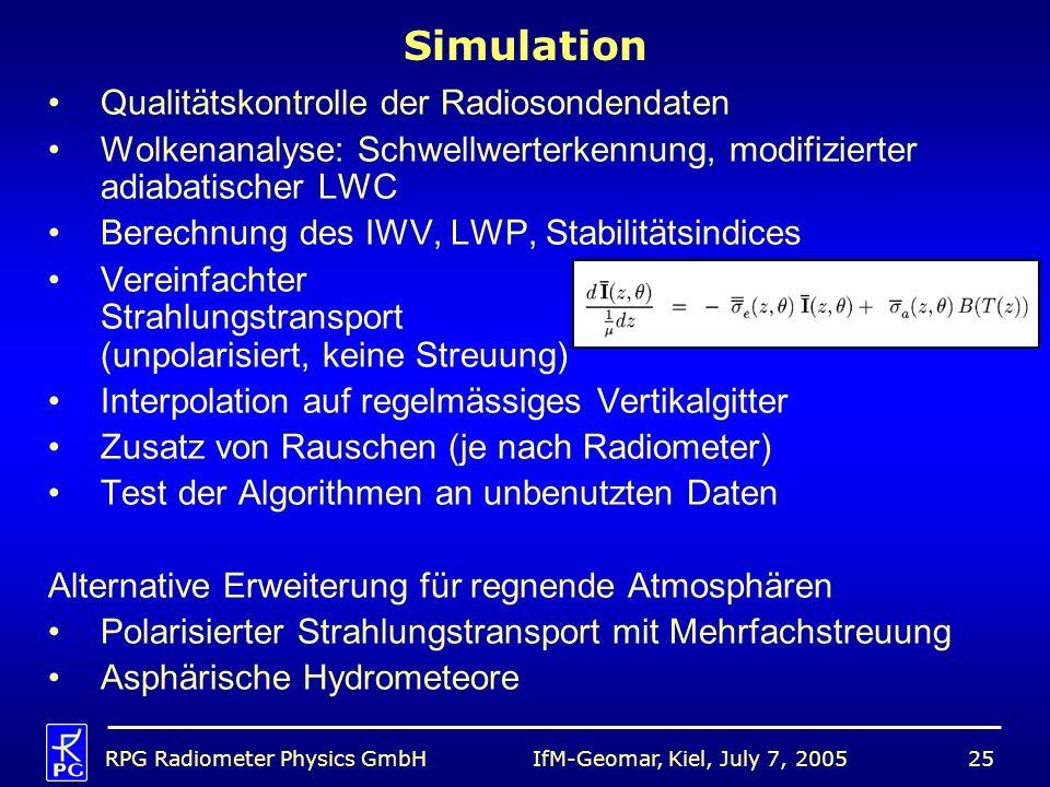 Simulation Qualitätskontrolle der Radiosondendaten