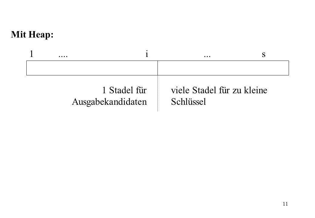 Mit Heap: 1 .... i ... s 1 Stadel für Ausgabekandidaten viele Stadel für zu kleine Schlüssel