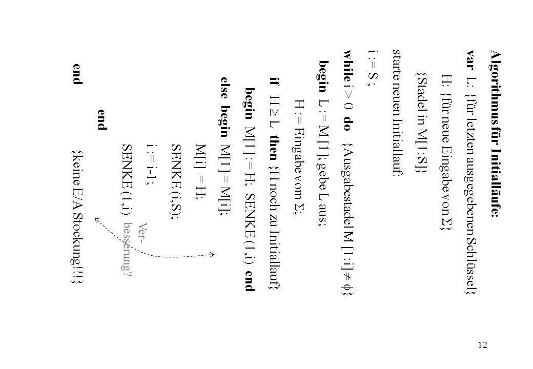 Algorithmus für Initialläufe: