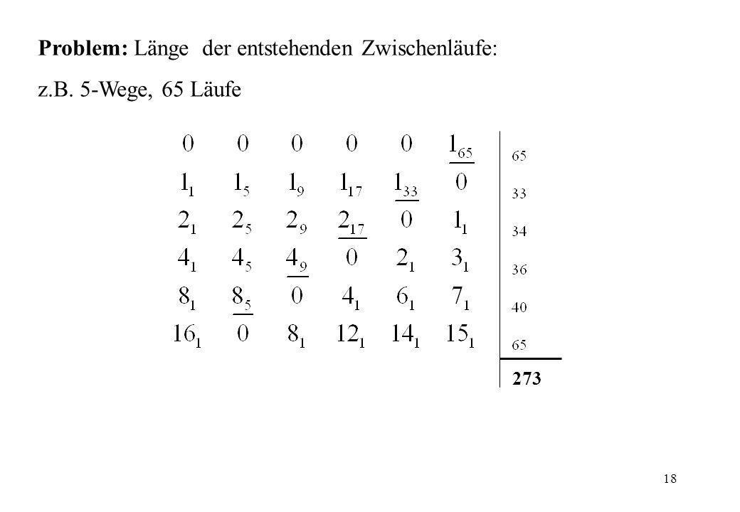 Problem: Länge der entstehenden Zwischenläufe: z.B. 5-Wege, 65 Läufe