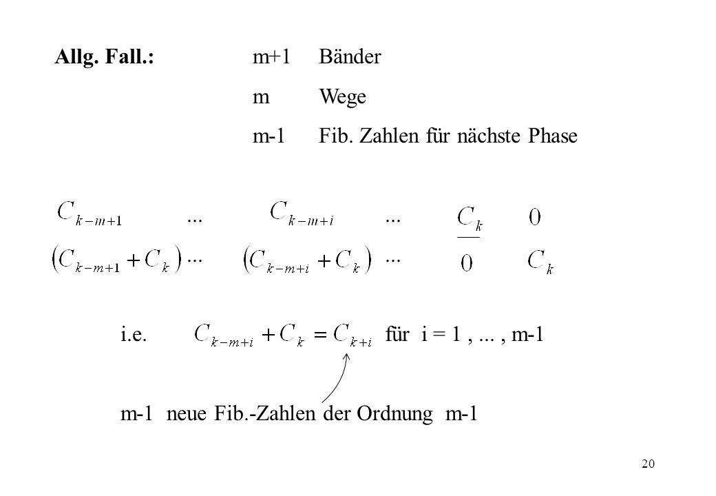 Allg. Fall.: m+1 Bänder m Wege. m-1 Fib. Zahlen für nächste Phase. ... ... i.e. für i = 1 , ... , m-1.